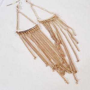 """NEW!!! Gold 6"""" Fringe Tassel Earrings NWOT $28"""